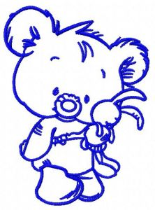 Baby bear with toy embroidery design 6