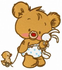 Baby bear with toy embroidery design
