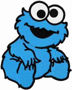 Baby Cookie monster embroidery design