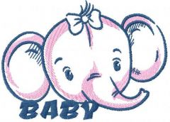 Baby elephant free embroidery design
