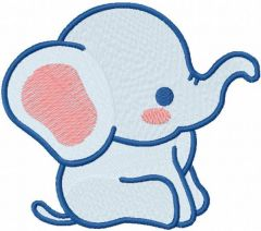 Blue baby free elephant embroidery design