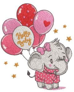 Baby elephant with balloons embroidery design