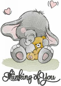Baby elephant with toy embroidery design