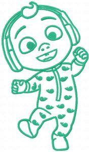 Baby Johny Cocomelon one colored embroidery design