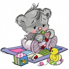 Baby teddy bear with toys 3 embroidery design