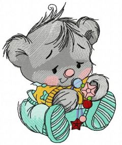 Baby teddy bear with toys embroidery design 4