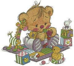 Baby teddy bear with toys embroidery design