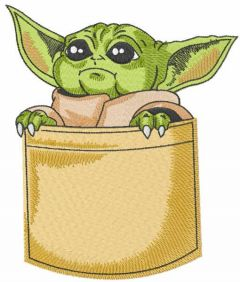 Baby yoda in pocket embroidery design