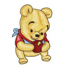 Baby Pooh with apple embroidery design