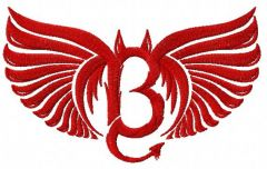 Bad angel embroidery design