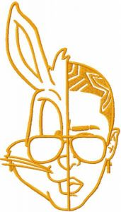 Bad Bunny one colored embroidery design