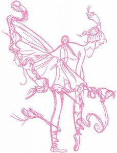 Ballerina dressing pointe one colored embroidery design