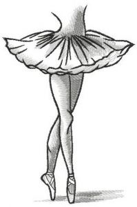 Ballerina dances in pointe shoes embroidery design