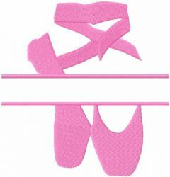 Ballet shoes monogram free embroidery design