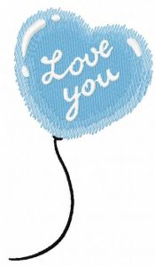 Balloon I love you embroidery design