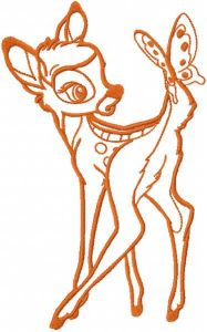 Bambi with butterfly one colored embroidery design