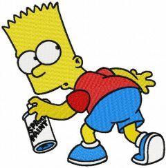 Bart Simpson paint spray logo embroidery design