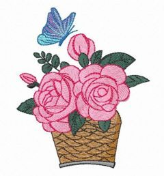 Basket of roses free embroidery design