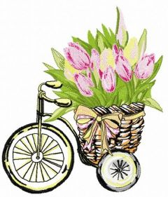 Basket with tulips 2 embroidery design