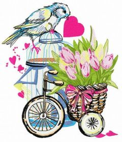 Basket with tulips embroidery design