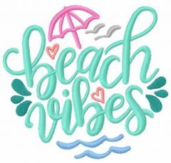Beach vibes embroidery design