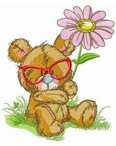 Bear botanist embroidery design