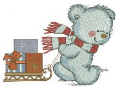 Bear in a warm striped scarf 3 embroidery design