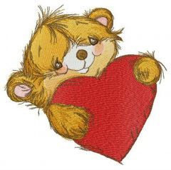 Bear is ready for Valentine's Day embroidery design