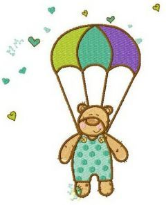 Bear skydiver embroidery design