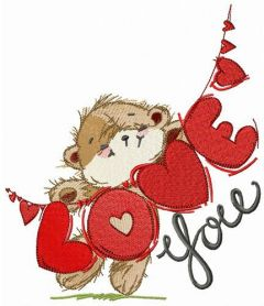 Bear with LOVE garland embroidery design