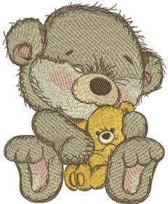 Bear with teddy bear embroidery design