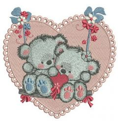 Bears on a teeter embroidery design