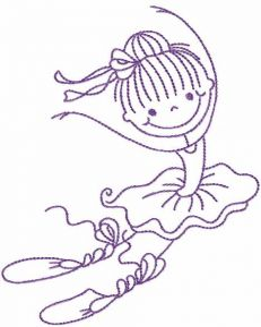 Beautiful ballerina embroidery design