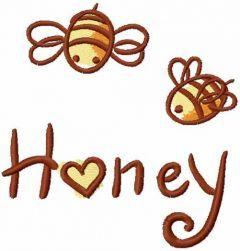 Bee love honey embroidery design