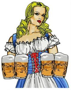 Beer girl 2 embroidery design