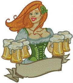 Beer girl 4 embroidery design