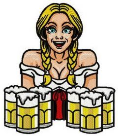 Beer girl 6 embroidery design