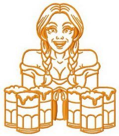 Beer girl machine embroidery design 7