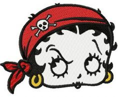 Betty Boop pirate embroidery design