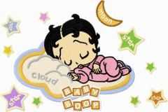 Betty Boop sleep embroidery design