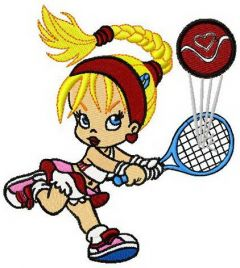 Betty tennis player embroidery design