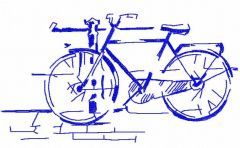 Bicycle in garden embroidery design