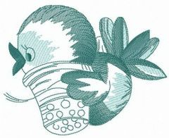 Birdie with thimble embroidery design