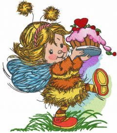 Birthday of a cute fairy embroidery design