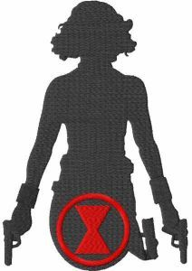 Black widow guns and logo embroidery design