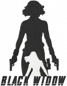 Black widow with guns embroidery design