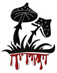 Bloody mushrooms embroidery design