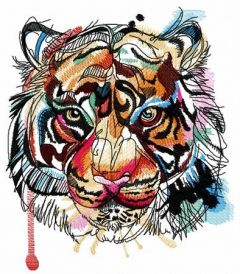 Bloody tiger muzzle embroidery design