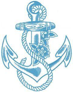 Blue anchor embroidery design
