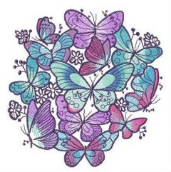 Blue and violet butterflies embroidery design